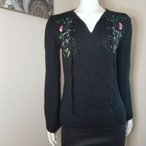 Vintage Bette Paige Floral Embroidered Sweater